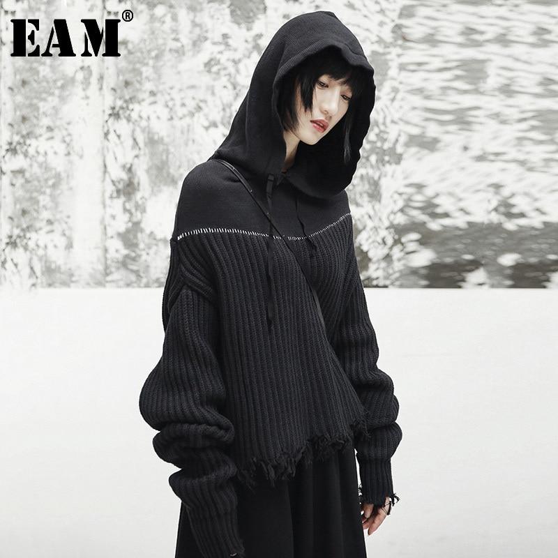 [EAM] 2020 New Spring Hooded Long Sleeve Black Loose Irregular Cut Knitting Large Size Sweater Women Fashion Tide JI508