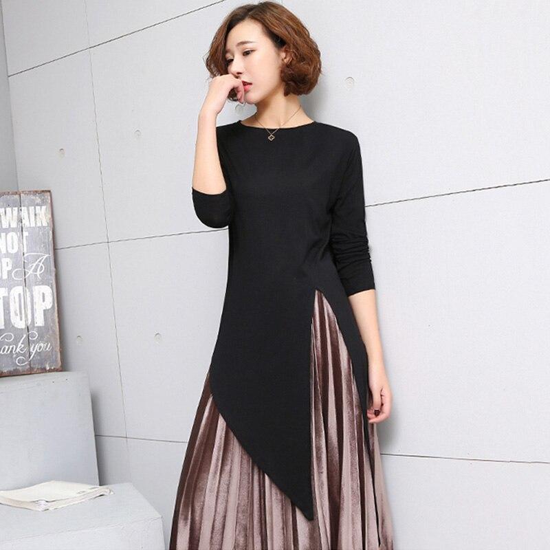 LANMREM 2018 New Summer Round Collar Long Sleeve Grey Irregular Hem Individuality Top Fashion Tide Korean Women T-shirt FB099