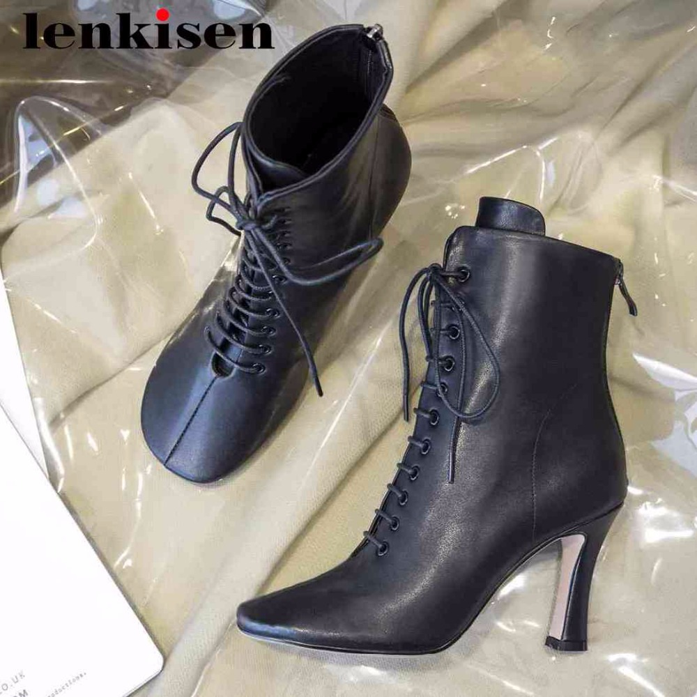 Lenkisen duck mouth square toe zipper high heels cow leather British style women Autumn winter shoes art design ankle boots L21