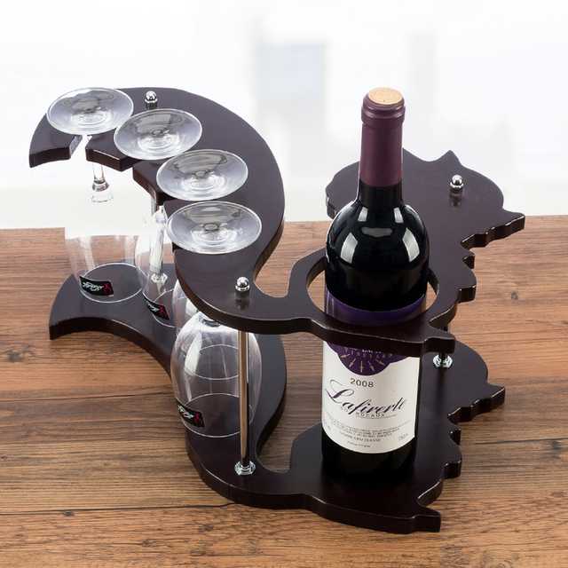 Squirrel Shape Solid Wood Wine Rack Creative Wine Glass Holder