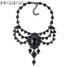 PPG&PGG New Women Fashion Accessories Luxury Black Rhinestone Long Chain Pendants Crystal Bib Chokers Necklace