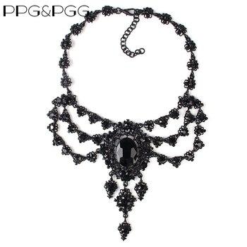 PPG e PGG Nuovo di Modo Delle Donne Accessori Di Lusso di Strass Nero Lunga Catena Pendenti con gemme e perle di Cristallo Bib Chokers Collana