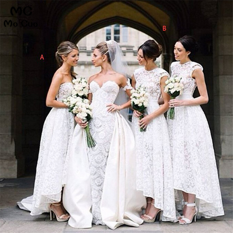 Hi Lo Gown 2018 Fashion   Bridesmaid     Dresses   Lace Vestidos De long 2 Kinds Maid of Honor White Long   Bridesmaid     Dress   for women