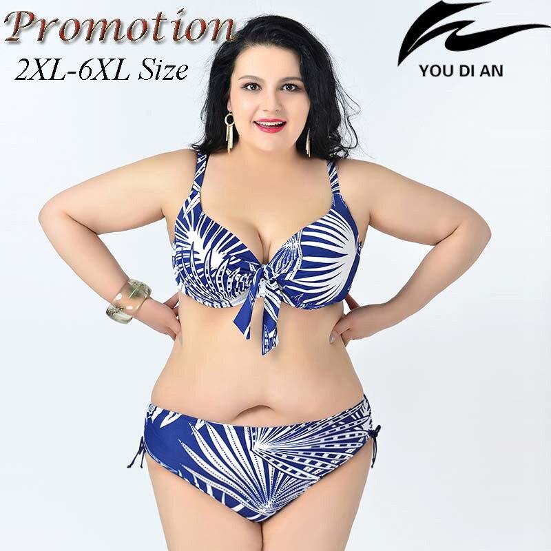 Chaude push up bikini taille plus grande taille bikinis set 2XL à 6XL graisse maillots de bain maillot de bain femmes grande taille