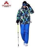 Для мужчин профессиональной лыжные костюмы теплые дышащие Водонепроницаемый Спорт на открытом воздухе Костюмы комплект кабель автомобиля