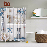 BeddingOutlet Sea Shells Starfish Shower Curtain Beach Ocean Shore Coastal Decor Mediterranean Waterproof 71 X 71