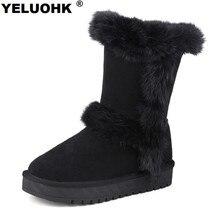 Fashion Nubuck Leather Haft Boots Women Winter Shoes Warm Female Winter Boots Australia Snow Boots Ladies Shoes Platform