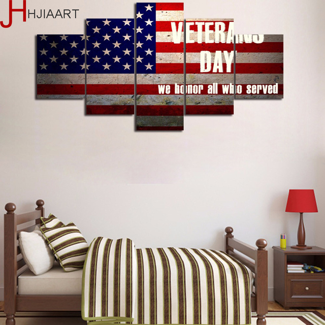 Framed Canvas Painting Military US Flags Quotes of Veterans Day Wall ...