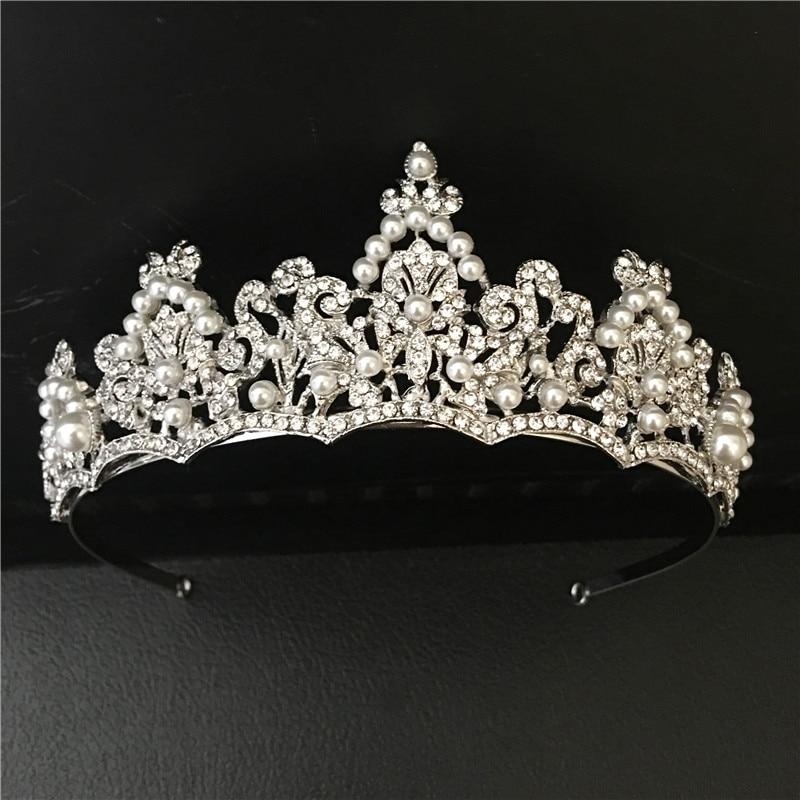 Woodqiqi indian jewelry hair tocados de novia perlas de cristal headband tiara para noiva vintage wedding