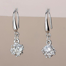 2017 new arrival shiny CZ diamond 925 sterling silver ladies`drop earrings jewelry birthday gift wholesale