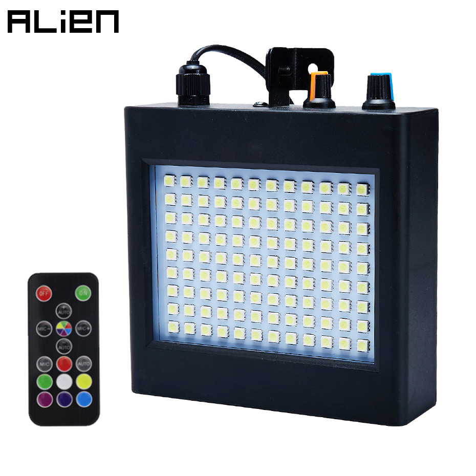 ALIEN Remote 108 LED RGB Strobe Stage Lighting Effect Sound Activated Club Disco Party DJ Holiday With Variable Speed ControlStage Lighting Effect   -