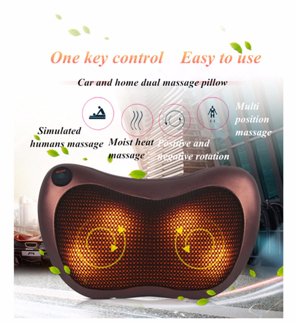 NEW 2017 Home & Car Dual-use Multifunction Massager Neck Shoulder Back Body Spa Massage Pillow Infrared Heating Shiatsu Massager bolikim electric infrared heating kneading neck shoulder back body spa massage car pillow car chair shiatsu massager machine