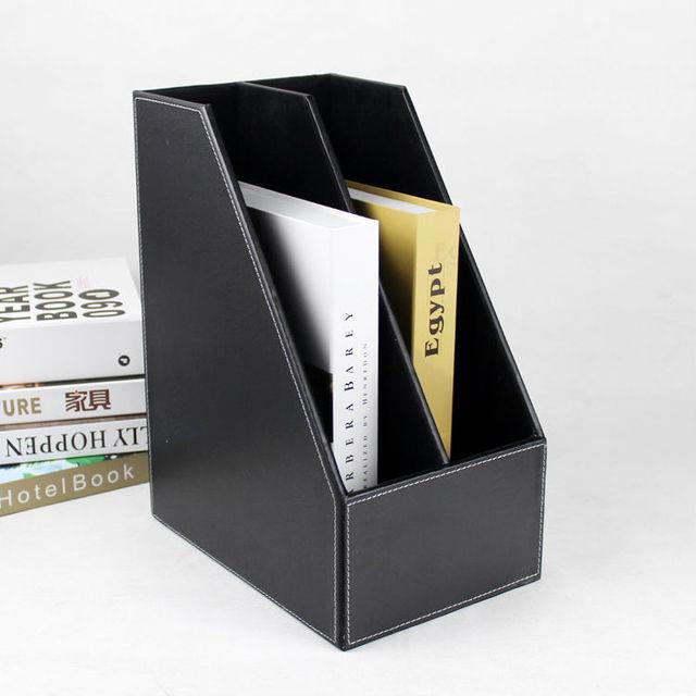 A4 2 slot wood desk file book stand storage box holder