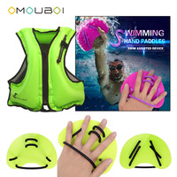 OMOUBOI Adult Unisex Green Plastic Swim Hand Web Fins Flippers With Inflatable Float Buoyancy Rescue Jacket To Pro Swimming Safe