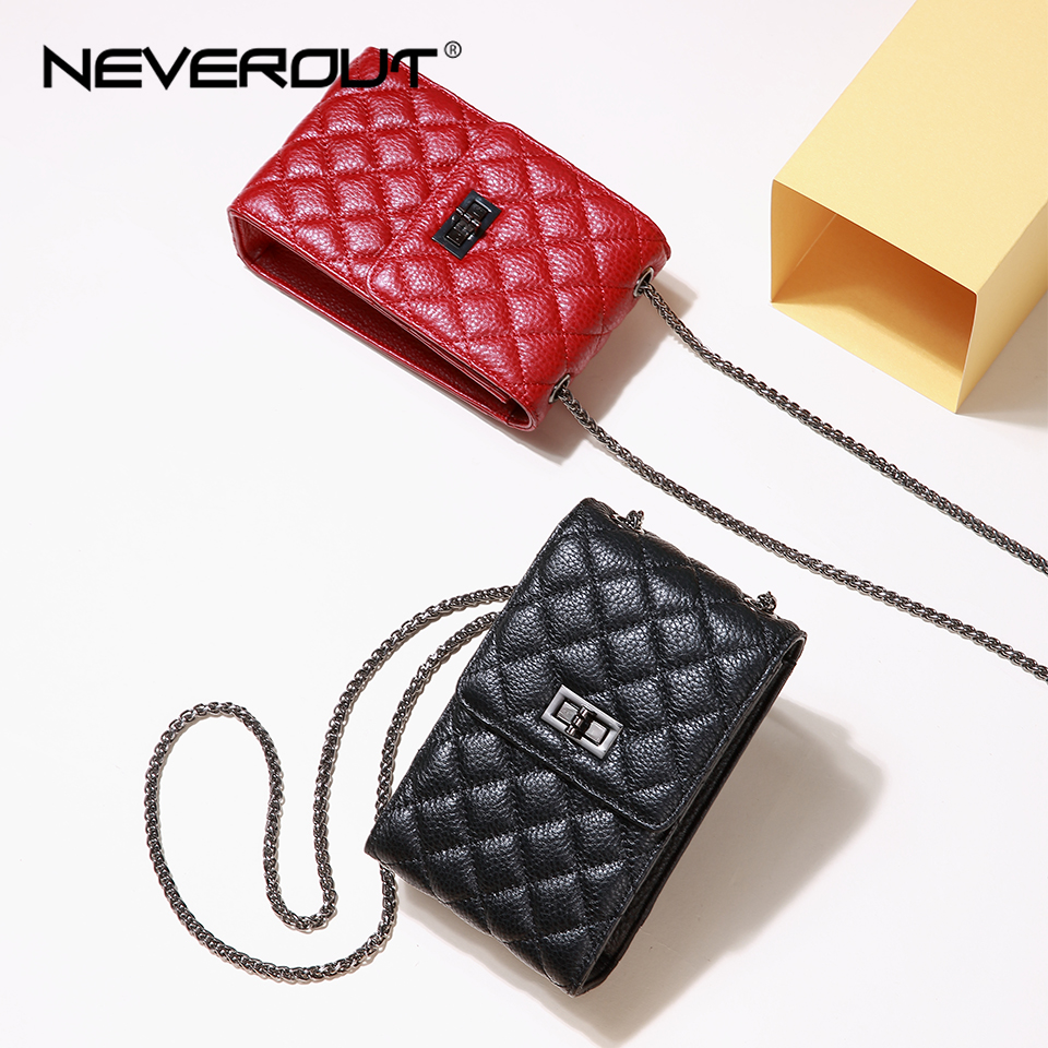 NEVEROUT Women Mini Quilted Bag Genuine Leather Messenger Shoulder Bag Ladies Cell Phone Purse Crossbody Red