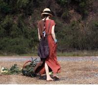 LinenAll original summer pure linen rust coffee brick red color V neck short sleeve slit dress 2047