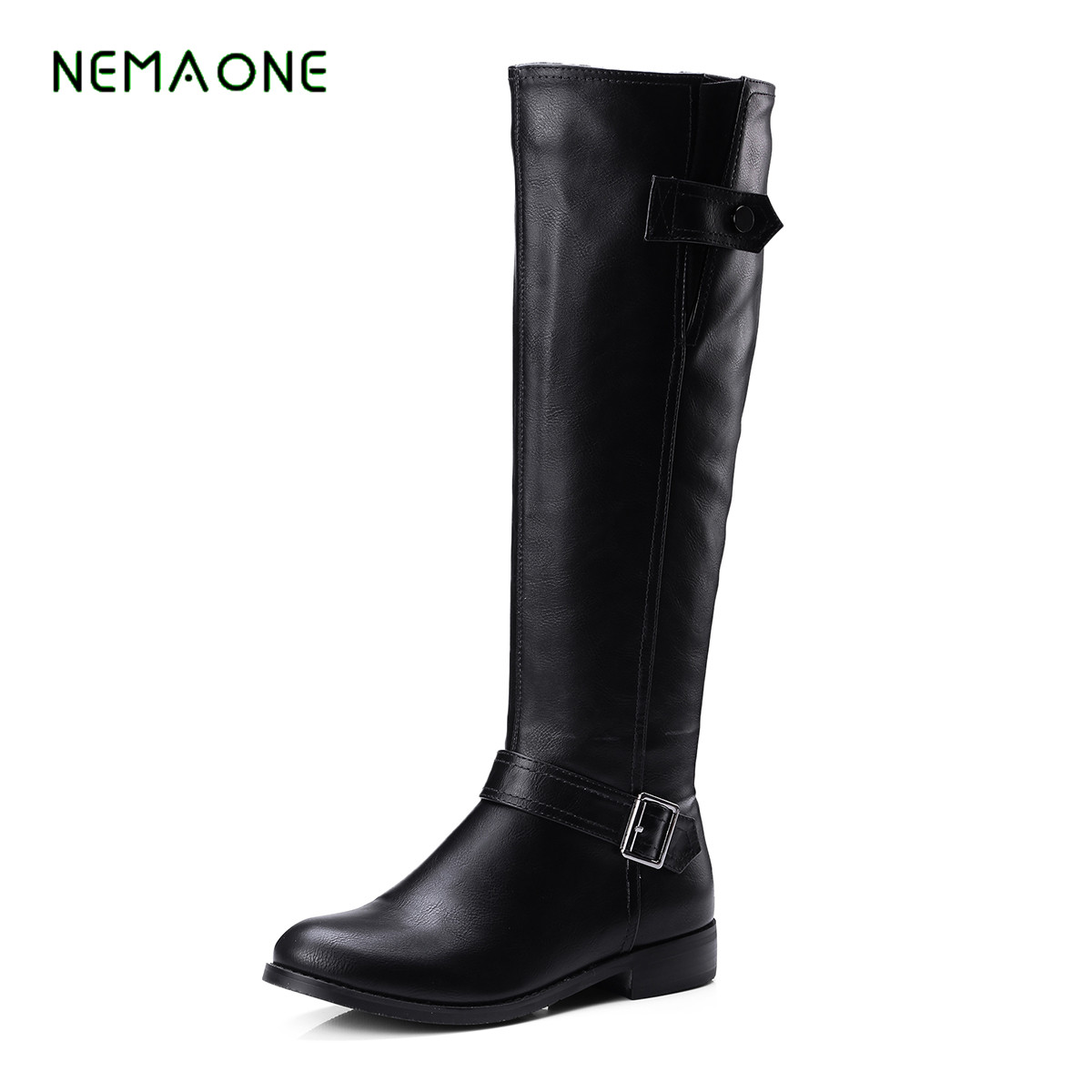 NEMAONE 2017 fashion Shoes Women Boots Shoes patchwork Flats Shoes Designer Boots Winter Over the knee Boots ...