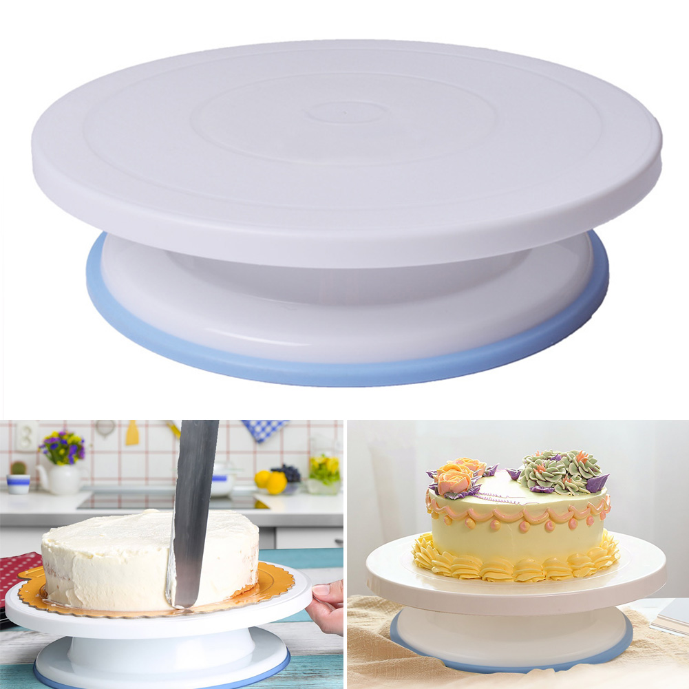 1 Set Cake Decorating Turntable Rotating Cake Stand with Icing Spatula + Comb & Icing Smoother HG99