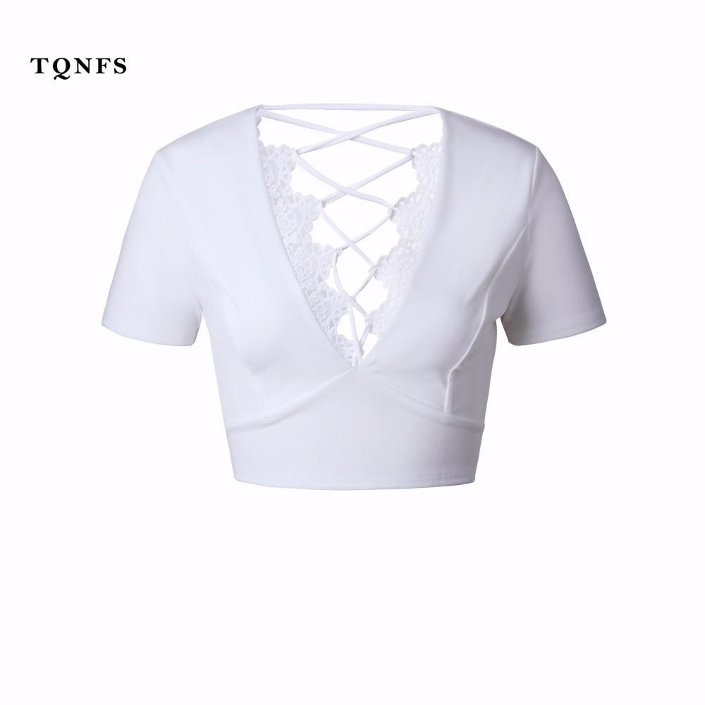 White t shirt crop top - Tqnfs Deep V Neck T Shirt Women Tops Tees Hollow Out Crop Top Tees Shirt Femme