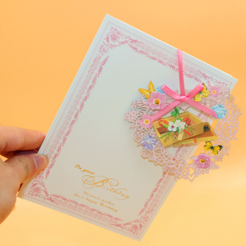(16 pieces/lot)LEISO Brand Beautiful Laser Cut Butterfly Greeting card New Design Hollow Paper Birthday Cake Wish Card Free Ship