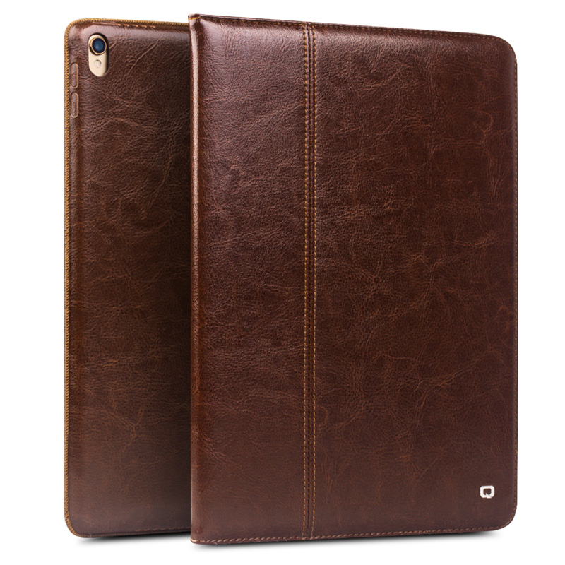 все цены на QIALINO Genuine Leather Ultrathin Flip Case for iPad Pro 10.5 Fashion Pattern Stents Dormancy Stand Bag Cover for 10.5 inches