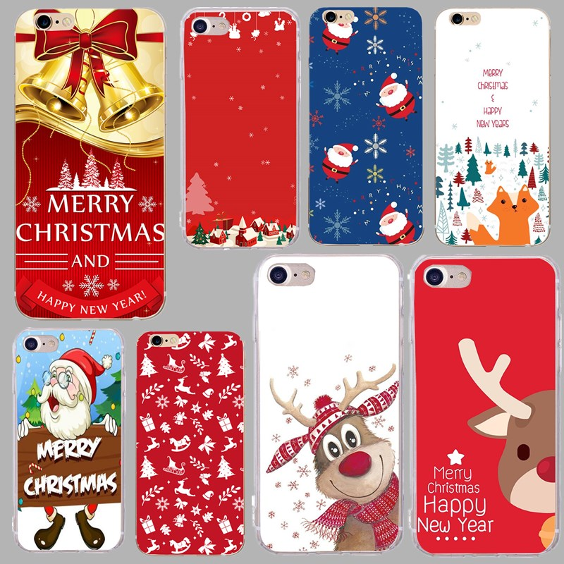 Cute Anime Snowman Case For iphone 7 Cover Paint Cartoon Christmas Santa Claus Deer Cases For iphone X 7 8 PLus 6 6S 5 5S SE