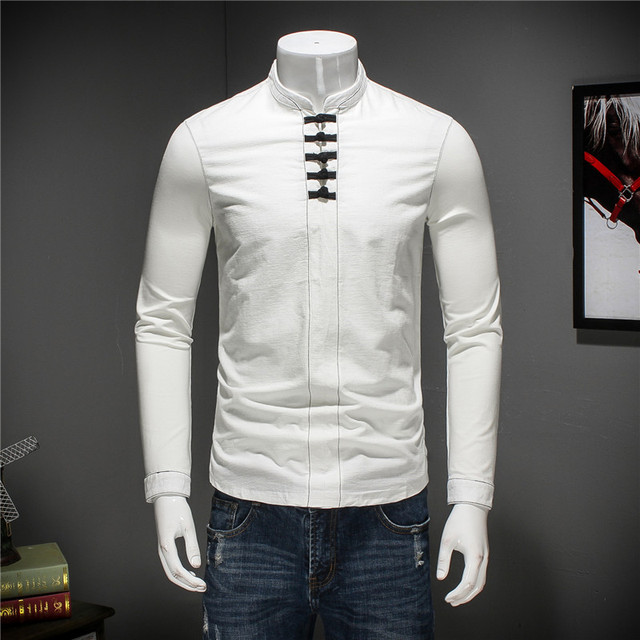 2018 men's men's summer new long-sleeved T-shirt fashion tide mercerized cotton linen button coat large size boutique S-5XL
