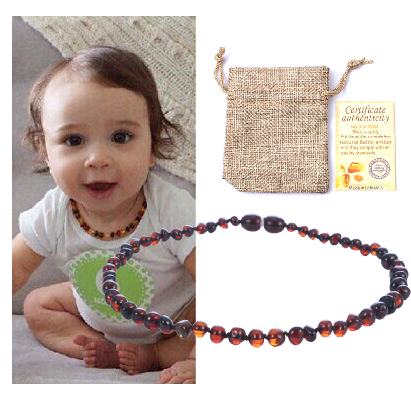 HAOHUPO Natural Amber Necklace Supply Certificate Authenticity Genuine Baltic Amber Stone Baby Necklace Gift 10 Color 14-33cm