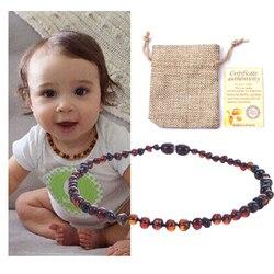 Haohupo natural âmbar colar certificado de fornecimento autenticidade genuíno báltico pedra âmbar bebê colar presente 10 cor 14-33cm