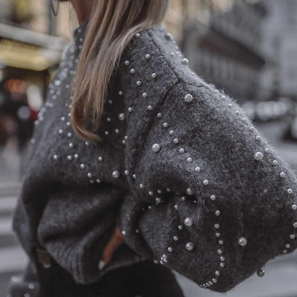 Feitong зимний теплый женский свитер, Женский Повседневный серый свитер с круглым вырезом и длинным рукавом-фонариком, вязаный свитер с жемчугом, ropa mujer invierno 2019