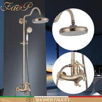 FAOP Shower Faucets gold bathroom shower mixer faucet for bathroom shower set luxury waterfall bathroom faucets shower mixer