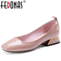 FEDONAS Pumps Lady S Genuine Leather Shoes New Shallow Mouth Square Head High Heels Single Shoes