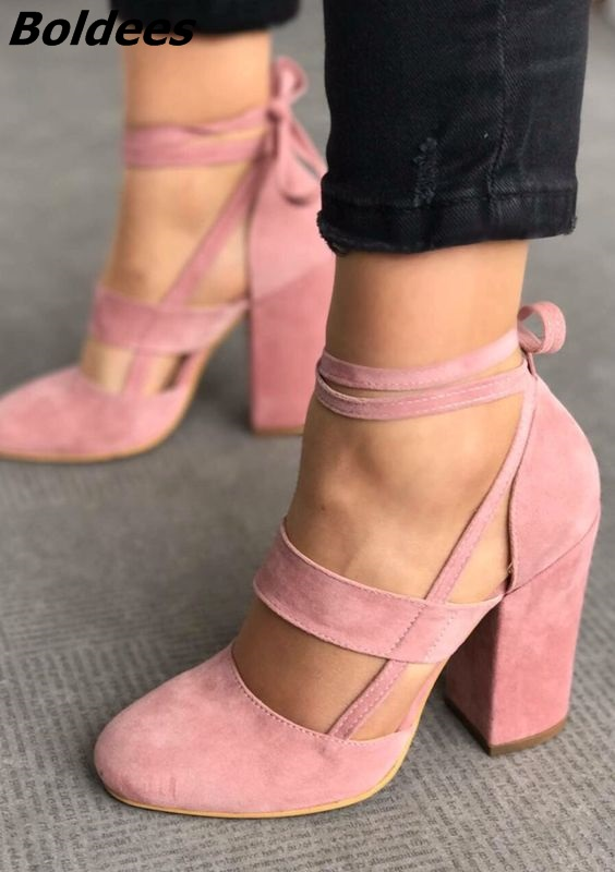 Classy Pink Suede Cut-out Block Heel Shoes Sweet Chunky Heel Round Toe Lace Up Pumps Pretty Girls Comfy Dress Shoes New Arrival sweet sleeveless cut out lace spliced striped dress for women