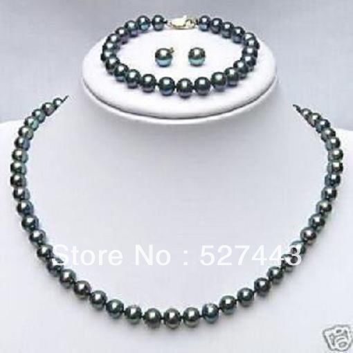 Cheap Pearl Necklace Sets: Wholesale Free Shipping >>Jewelry Black Freshwater Pearl