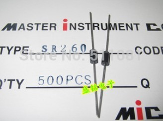 Free Shipping 500PCS SR260 SB260 DIP schottky diode ROHS with tracking number