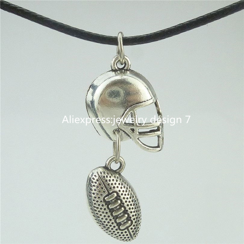 Free Shipping 16581 American Football Sports Ball Rugby Helmet Pendant Collar Short Necklace 16532
