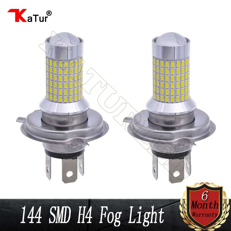 1 Pair H4 Led Bulbs For Cars 144 SMD 1500Lm Super Bright H4 9003 HB2 Led Bulbs with Projector for Fog Lights Xenon White 1 pair h4 9003 hb2 led bulb for cars auto led headlight kit h4 high low beam head light 30w 4200lm 12 smd super bright