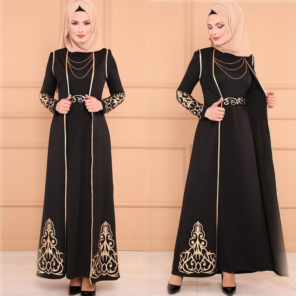 Mode Robe Musulmane Abaya Vêtements Islamiques Robe Musulmane 2 PC Femmes Robe et Robe Caftan Abaya Mince Fête Musulmane DressesY58