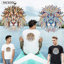 Nicediy Fashion Colorful Lion King Stickers Patch Iron-on Transfer Clothes Patches Heat Vinyl Sticker Thermal