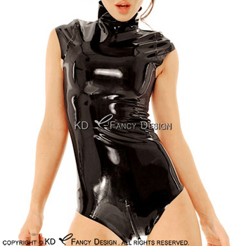 Sleeveless Black Sexy Latex Bodysuit With Back Zip And Crotch Zip Rubber Body Suit LTY-0151