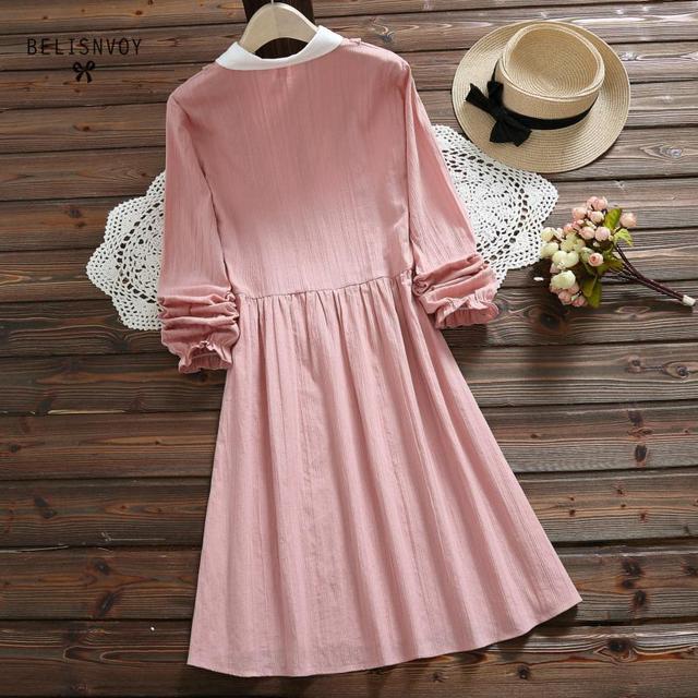 Vestidos Verano 2019 Blue Pink Japan Style Mori Girl Sweet Dress Women Ruffles Long Sleeve Cotton Linen Vintage Dresses 3