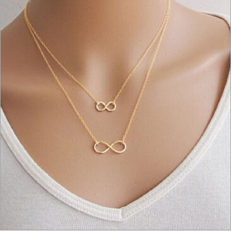 Nk668 New Punk Collier Femme Multi Layer Necklace Gold Silver Plated