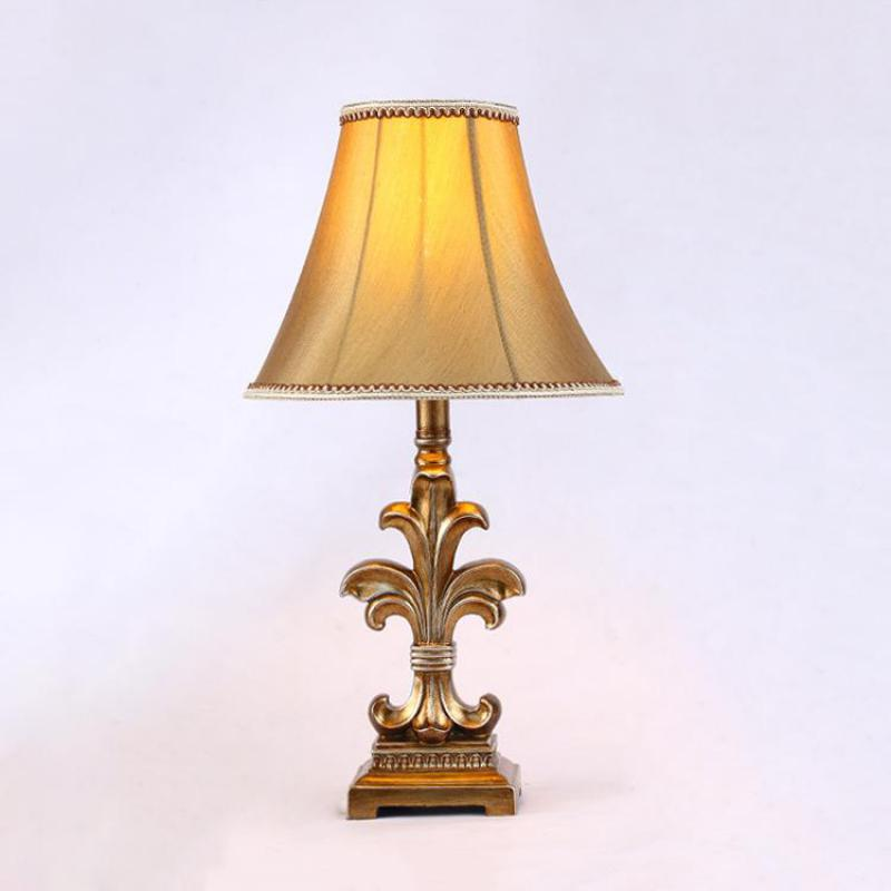 On Sale American Retro Hand Crafted Resin Fabric Led E27 Table Lamp For Bedroom Bedside Living Room Etudy H 56cm 80 265v 1285