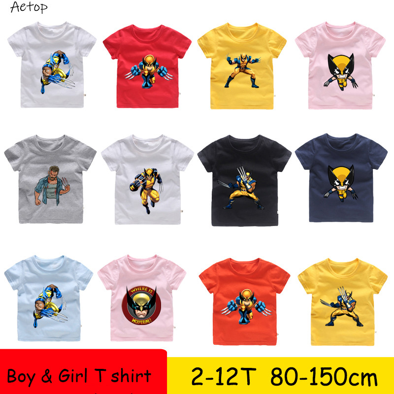 T-shirts Tops & Tees 2t-12t Wolverine Cartoon Pattern Funny Children T Shirt Kids Cute Clothes Baby Boys/girls Summer Short Sleeve T-shirt,b102 High Quality And Low Overhead