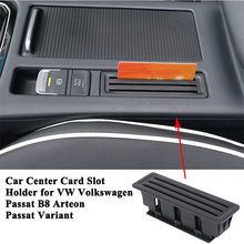 цена на 1pc ABS Car Center Armrest Card Storage Box Slot Organizer Pocket Accessories for VW Volkswagen Passat B8 Passat Variant Arteon