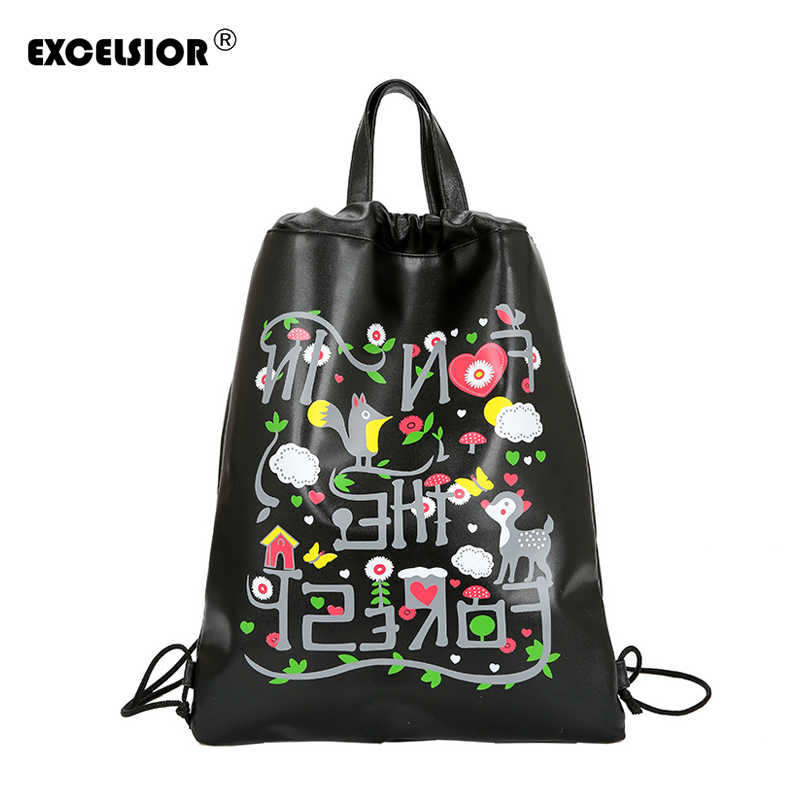 EXCELSIOR New Flower Printed PU Drawstring Female Backpack Women Mochila  Bucket Travel School Bags for Women 2387f01bdfb21