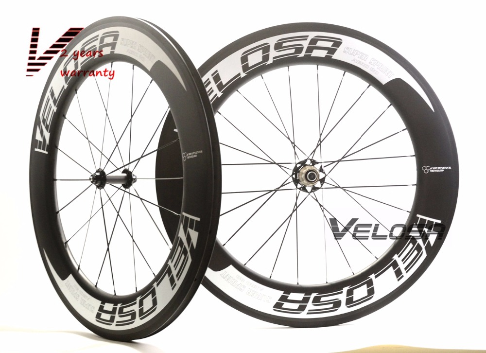 Velosa Sprint 80 bike carbon wheelset,88mm clincher/tubular 700C road bike wheel,2:1 carbon hubs,super light triathlon wheelset velosa supreme 50 bike carbon wheelset 60mm clincher tubular light weight 700c road bike wheel 1380g