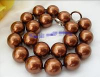 Free shipping hot sale Women Bridal Wedding Jewelry >>stunning big 20mm round chocolate coffee south sea shell pearls necklace