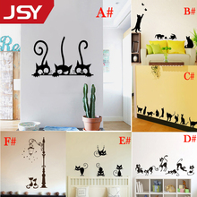 Black Cute Cats Fashion Wall Sticker Funny Cat Stickers Girls Vinyl Home Decor Living Room Children Decal