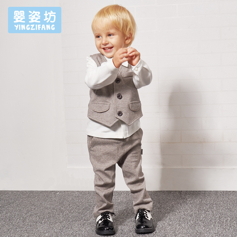 2018 Baby Boys Spring Casual Clothing Set Solid Bow Tie Turn down Collar Shirt + Vest Jacket + pant 3 Pieces Suit Set